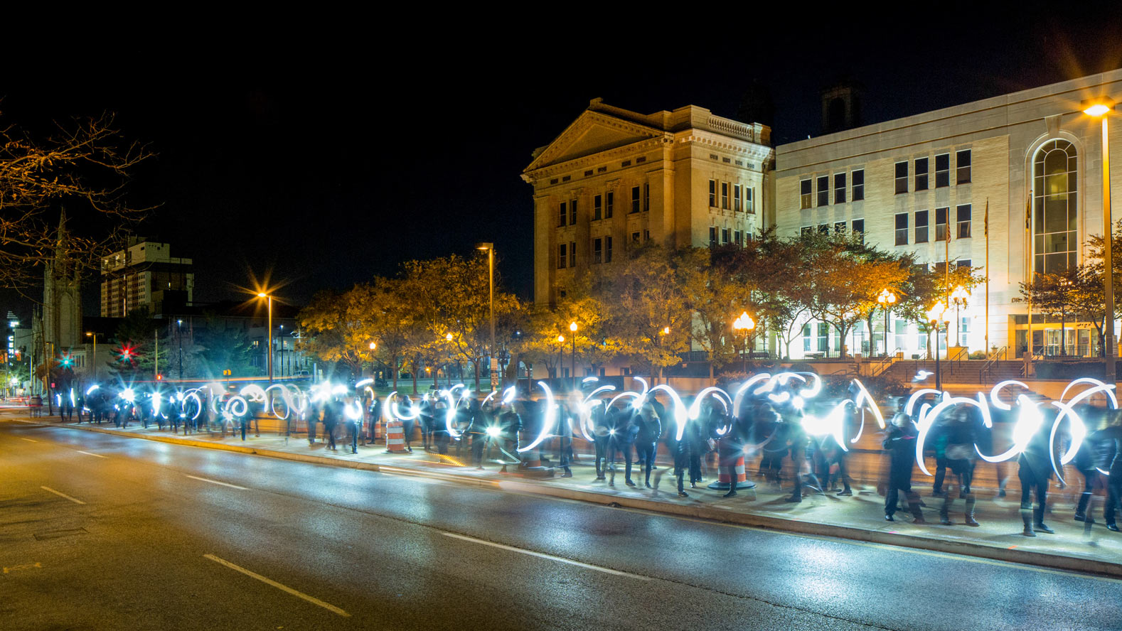 Flash! guerrilla lighting on the North Avenue median. Photo: Karl Connolly Photography